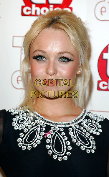 JORGIE PORTER.TV Choice & TV Quick Awards at the Dorchester Hotel, Park Lane, London, England..September 7th 2009.headshot portrait black white embroidered patterned pattern false eyelashes make-up sixties collar neckline .CAP/ROS.©Steve Ross/Capital Pictures.