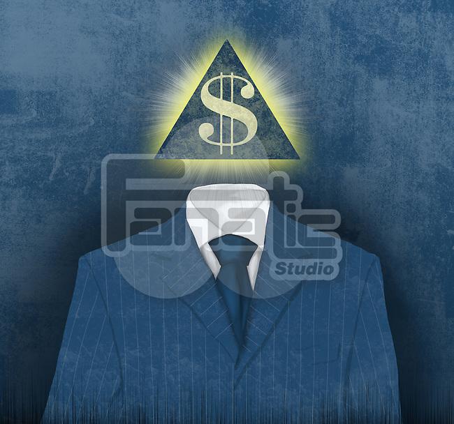 Illustration of businessman with pyramid face of dollar symbol