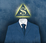 Illustration of businessman with pyramid face of dollar symbol