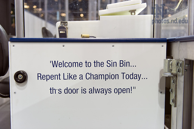 Feb. 8, 2013; Text on the wall of the visitor penalty box at the Compton Family Ice Arena...Photo by Matt Cashore/University of Notre Dame