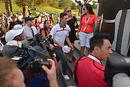 Bethesda, MD - June 29, 2014: Justin Rose walks to the Wall of Honor to sign his name after winning the Quicken Loans National at the Congressional Country Club. The golf tournament raises money for the Tiger Woods Foundation.  (Photo by Don Baxter/Media Images International)