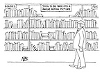 (On section of shelves in a bookshop is labelled 'Soon to be made into a major motion picture')