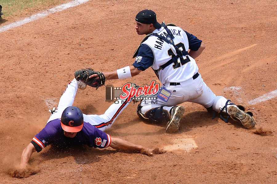 Clemson's Herman Demmink (3) slides around Georgia Tech catcher Andy Hawranick (12)to score a run at the 2006 ACC Baseball Championship at the Baseball Grounds of Jacksonville in Jacksonville, FL, Saturday, May 27, 2006.  Georgia Tech defeated Clemson 8-7 in 10 innings.
