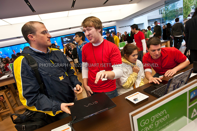 10/20/2011--Seattle, WA, USA..Microsoft store employees greet customers entering the new Microsoft store in Seattle, WASH., for the 9am opening...Microsoft (MSFT) opened their 12th retail store in Seattle's U-Village shopping center today. Nearly 1000 people waited in line for the opening of the company's first store in Seattle. The store opened up directly across from an Apple store. Nationwide, Microsoft will open two more this fall, in California and Virginia. ..©2011 Stuart Isett. All rights reserved. entering the new Microsoft store in Seattle, WASH., for the 9am opening...Microsoft (MSFT) opened they 12th retail store in Seattle's U-Village shopping center today. Nearly 1000 people waited in line for the opening of the company's first store in Seattle. The store opened up directly across from an Apple store. Nationwide, Microsoft will open two more this fall, in California and Virginia. ..©2011 Stuart Isett. All rights reserved. 12th retail store in Seattle's U-Village shopping center today. Nearly 1000 people waited in line for the opening of the company's first store in Seattle. The store opened up directly across from an Apple store. Nationwide, Microsoft will open two more this fall, in California and Virginia. ..©2011 Stuart Isett. All rights reserved.