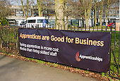 Banner promoting Apprenticeships, Further Education College, Guildford, Surrey, UK.