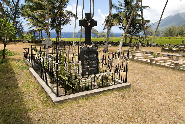 Hawaii: Molokai, church and gravesite at Kalawao of leper priest, Father Damien de Veuster.Photo himolo166-72273.Photo copyright Lee Foster, www.fostertravel.com, lee@fostertravel.com, 510-549-2202