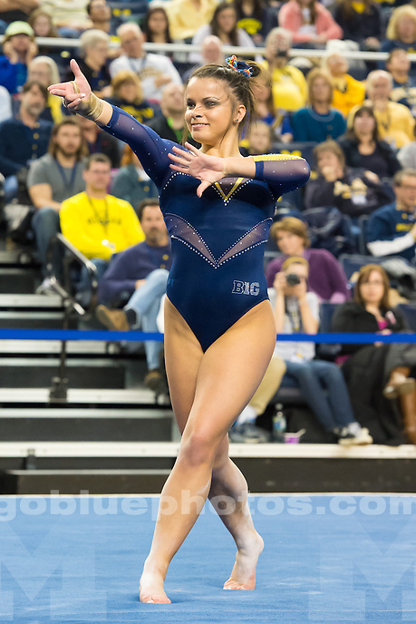 "The University of Michigan women's gymnastics team defeats Nebraska,197.30-195.8, during ""Flip for Autism"" at the Crisler Center in Ann Arbor, Mich. on January 31, 2015."
