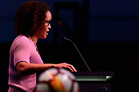 Philadelphia, PA - Thursday January 18, 2018: Danielle Slaton during the 2018 NWSL College Draft at the Pennsylvania Convention Center.