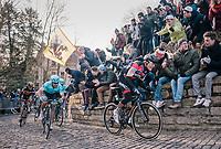 Greg Van Avermaet (BEL/BMC) on the infamous Kapelmuur<br /> <br /> Omloop Het Nieuwsblad 2018<br /> Gent › Meerbeke: 196km (BELGIUM)