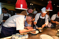 MELBOURNE, 30 June 2017 – Joe Vargetto, Scott Pickett and Junpei Yamakoshi at work in the kitchen during a dinner celebrating Philippe Mouchel's 25 years in Australia with six chefs who worked with him in the past at Philippe Restaurant in Melbourne, Australia.