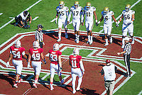 Stanford, California, 10-19-2013: The Coin Toss before the Stanford vs UCLA Football game at Stanford Stadium on Saturday.