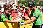 Green Jersey Peter Sagan (SVK) Bora-Hansgrohe with fans at sign on before the start of Stage 12 of the 2018 Tour de France running 175.5km from Bourg-Saint-Maurice les Arcs to Alpe D'Huez, France. 19th July 2018. <br /> Picture: ASO/Alex Broadway | Cyclefile<br /> All photos usage must carry mandatory copyright credit (&copy; Cyclefile | ASO/Alex Broadway)