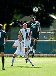 1 September 2009: Siena College Saints' midfielder/forward Emery Welshman (10), a Freshman from Mississauga, Ontario, jumps highest to head the ball away from University of Vermont Catamounts Kyle Luetkehans (10) and Patrick Alonis (23) at Centennial Field in Burlington, Vermont. The Saints edged out the Catamounts 1-0. Mandatory Photo Credit: Ed Wolfstein Photo