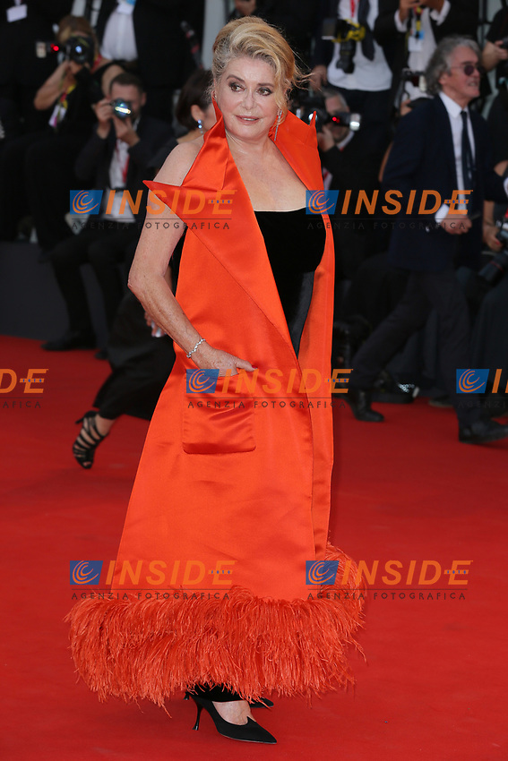 """VENICE, ITALY - AUGUST 28: Chaterine Deneuve walks the red carpet ahead of the Opening Ceremony and the """"La Verite"""" (The Truth) screening during the 76th Venice Film Festival at Sala Grande on August 28, 2019 in Venice, Italy., 2019 in Venice, Italy. (Photo by Marck Cape/Inside Foto)<br /> Venezia 28/08/2019"""