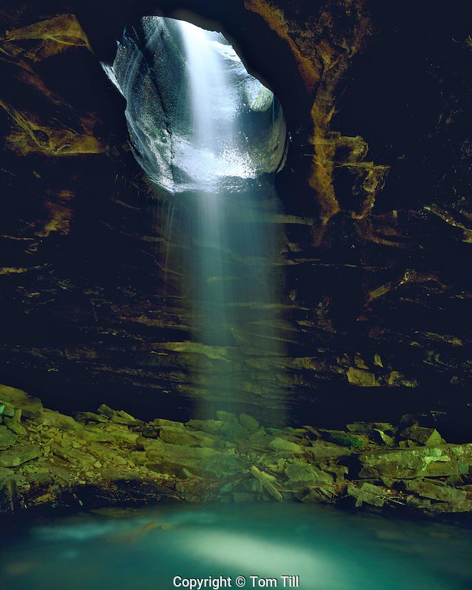 Waterfall through a Natural Bridge on Buffalo River, Buffalo National River,  Buffalo Wilderness, Arkansas