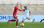 Georgia Stanway of Manchester City Ladies and Louise Kristiansen of Brondby IF during the Women's Champions League last 16 tie, first leg between Manchester City Women and Brondby IF at the Academy Stadium. <br /> <br /> Photo credit should read: Lynne Cameron/Sportimage