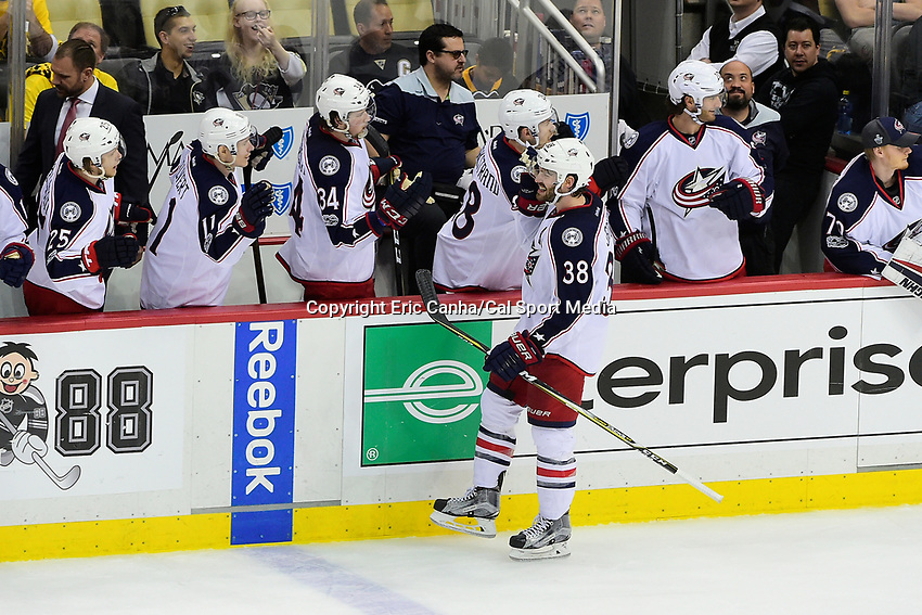 Thursday, April 20, 2017: Columbus Blue Jackets center Boone Jenner (38) celebrates a goal during game 5 of round one of the National Hockey League Eastern Conference Stanley Cup Playoffs between the Columbus Blue Jackets and the Pittsburgh Penguins, held at PPG Paints Arena, in Pittsburgh, PA. Pittsburgh defeats Columbus 5-2 to win the best of seven series 4 games to 1and advances to round two of the Eastern Conference Playoffs. Eric Canha/CSM