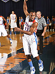 Texas-Arlington Mavericks guard Shaquille White-Miller (12) goes out of bounds in the game between the UTA Mavericks and the Hardin-Simmons Cowboys held at the University of Texas in Arlington's Texas Hall in Arlington, Texas. UTA defeats Hardin-Simmons 88 to 71.