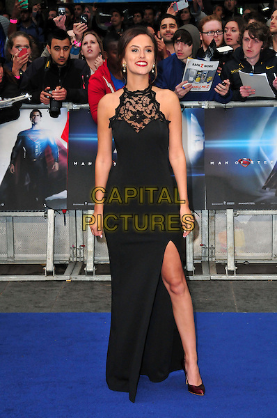Lucy Watson<br /> 'Man Of Steel' UK film premiere, Empire cinema, Leicester Square, London, England.<br /> 12th June 2013<br /> full length black sleeveless dress lace slit split<br /> CAP/BF<br /> &copy;Bob Fidgeon/Capital Pictures
