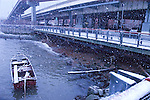Snowing on boat in the East river. Images of New York 2004, New York,U.S.A