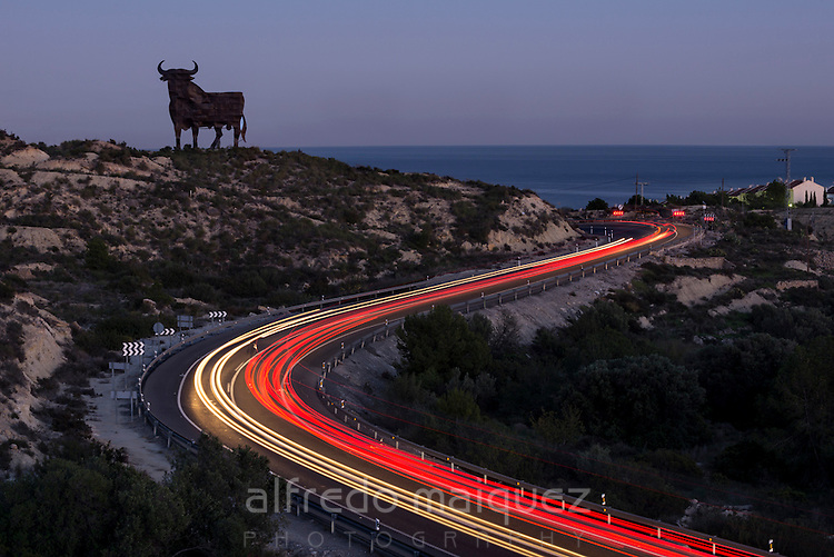 Osborne's Bull at sunset,Alicante, Costa Blanca, Spain
