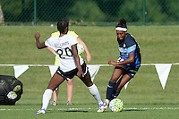 Kansas City, MO - Saturday July 16, 2016: Cheyna Williams, Brianne Reed during a regular season National Women's Soccer League (NWSL) match between FC Kansas City and the Washington Spirit at Swope Soccer Village.