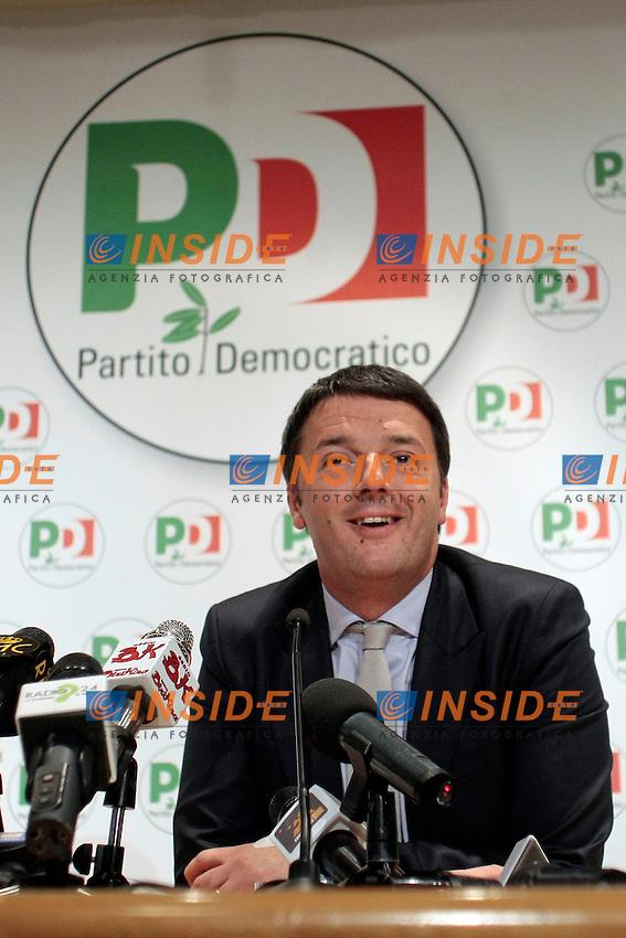Matteo Renzi<br /> Roma 08/12/2013 Sede del PD. Conferenza stampa di Matteo Renzi nuovo segretario del Partito Democratico.<br /> Press conference of the new secretary of Democratic Party.<br /> Photo Samantha Zucchi Insidefoto