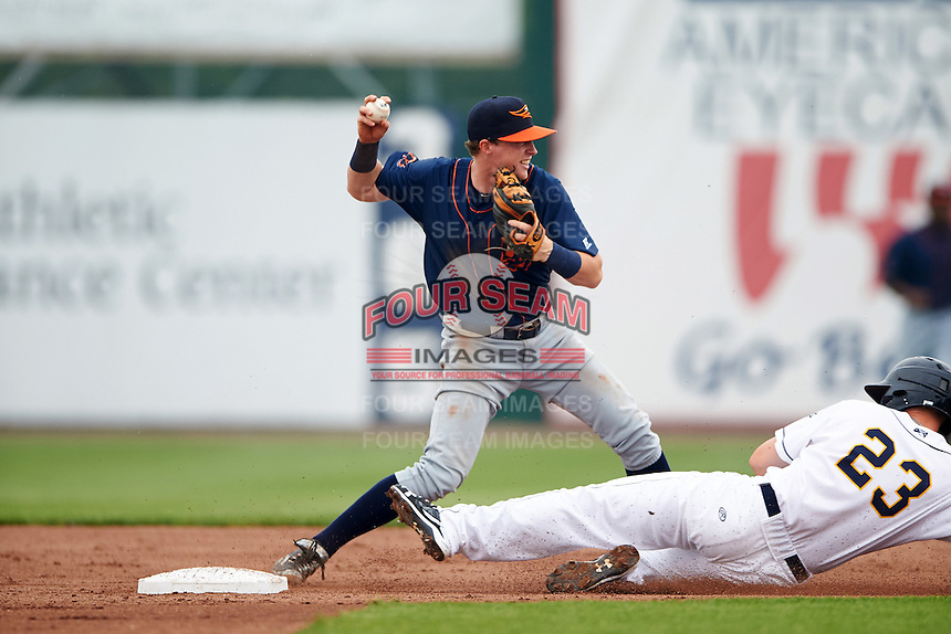 Bowing Green Hot Rods shortstop Jake Cronenworth (2) throws to first as Brendon Sanger (23) slides in during a game against the Burlington Bees on May 7, 2016 at Community Field in Burlington, Iowa.  Bowling Green defeated Burlington 11-1.  (Mike Janes/Four Seam Images)