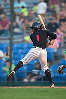 Tracy Hadley (1) of the Great Falls Voyagers at bat against the Helena Brewers at Centene Stadium on August 18, 2017 in Helena, Montana.  The Voyagers defeated the Brewers 10-7.  (Brian Westerholt/Four Seam Images)