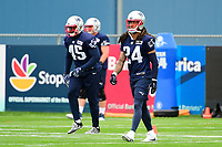 July 27, 2017:  New England Patriots cornerback Stephon Gilmore (24) does warm-up activities at the New England Patriots training camp held on the at Gillette Stadium, in Foxborough, Massachusetts. Eric Canha/CSM