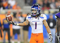 Jan. 4, 2010; Glendale, AZ, USA; Boise State Broncos cornerback (1) Kyle Wilson against the TCU Horned Frogs in the 2010 Fiesta Bowl at University of Phoenix Stadium. Boise State defeated TCU 17-10. Mandatory Credit: Mark J. Rebilas-