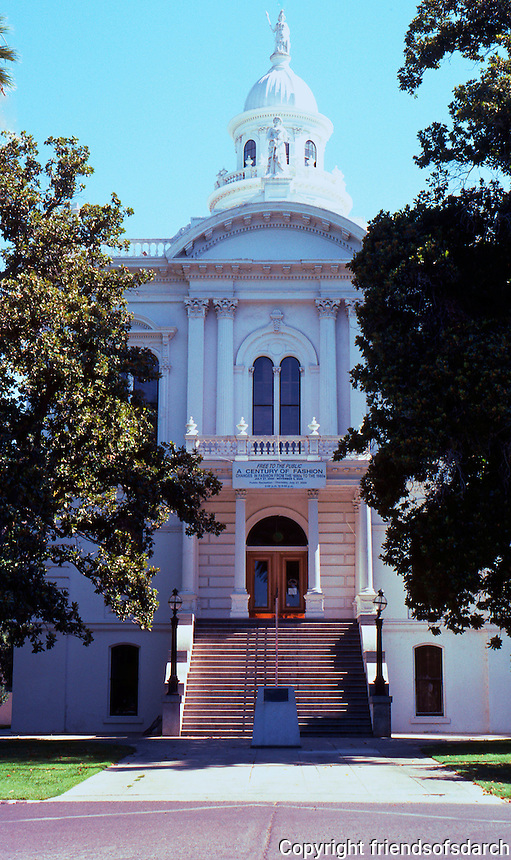 "Merced CA: County Courthouse, 1875. West Elev, Entrance. County Commissioners said they received ""full value"" for $30,000."