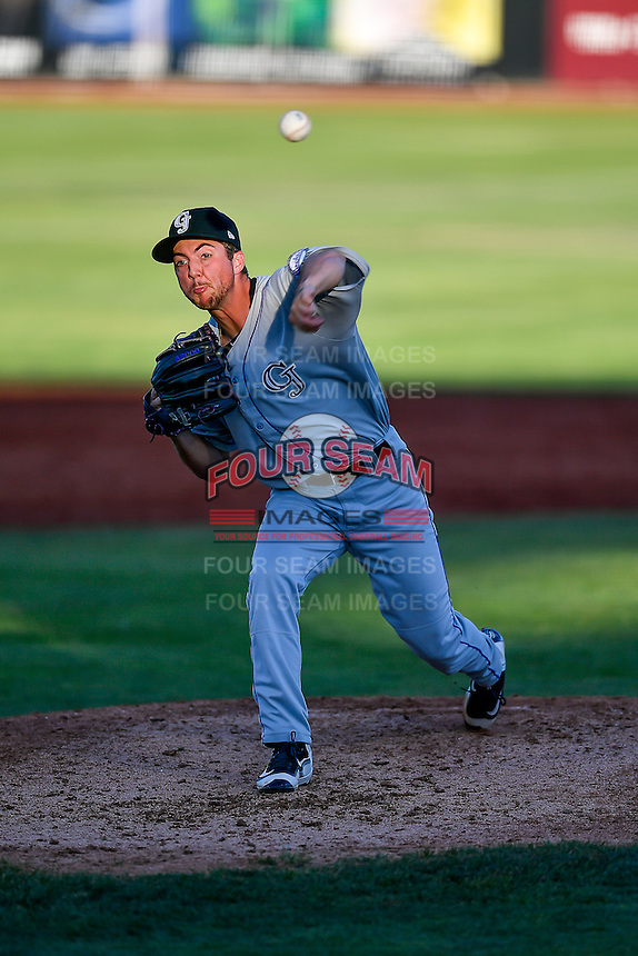 John Valek (35) of the Grand Junction Rockies delivers a pitch to the plate against the Orem Owlz in Pioneer League action at Home of the Owlz on July 7, 2016 in Orem, Utah. The Owlz defeated the Rockies 15-3. (Stephen Smith/Four Seam Images)