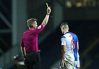 Blackburn Rovers Sam Hart gets a yellow card <br /> <br /> Photographer Rachel Holborn/CameraSport<br /> <br /> EFL Checkatrade Trophy - Northern Section Group C - Blackburn Rovers v Bury - Tuesday 3rd October 2017 - Ewood Park - Blackburn<br />  <br /> World Copyright &copy; 2018 CameraSport. All rights reserved. 43 Linden Ave. Countesthorpe. Leicester. England. LE8 5PG - Tel: +44 (0) 116 277 4147 - admin@camerasport.com - www.camerasport.com