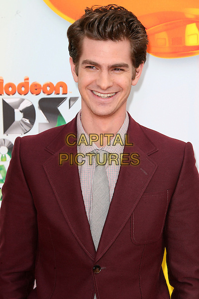 Andrew Garfield.2012 Nickelodeon Kids' Choice Awards held at the Galen Center, Los Angeles, California, USA, 31st March 2012..portrait headshot half length red burgundy suit jacket smiling grey gray shirt suit tie .CAP/ADM.©AdMedia/Capital Pictures.