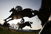 Runners and riders in jumping action in the the Plumpton Annual Members Handicap Chase