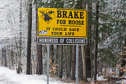 Brake for Moose sign along the Kancamagus Highway (route 112) in the White Mountains, New Hampshire. The Kancamagus Highway is one of New England's scenic byways.