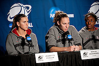 SPOKANE, WA - MARCH 27, 2011: Jeanette Pohlen, Kayla Pedersen, Nnemkadi Ogwumike, during the off-day press conference, Stanford Women's Basketball, NCAA West Regionals on March 27, 2011.