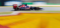 March 14, 2014: Jean-Eric Vergne (FRA) from the Scuderia Toro Rosso team rounds turn three during practice session one at the 2014 Australian Formula One Grand Prix at Albert Park, Melbourne, Australia. Photo Sydney Low.