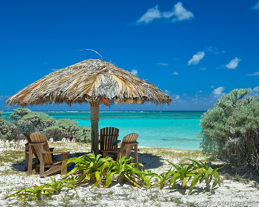 Anegada, British Virgin Islands, Caribbean<br /> Adirondack chairs under a palapa at Cow Wreck Bay