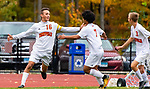 THOMASTON,  CT-101619JS08- Terryville's Evan Coviello (16) celebrates a goal with teammates during their Berkshire League match up with Thomaston Wednesday at Nystrom Park in Thomaston.<br /> Jim Shannon Republican-American