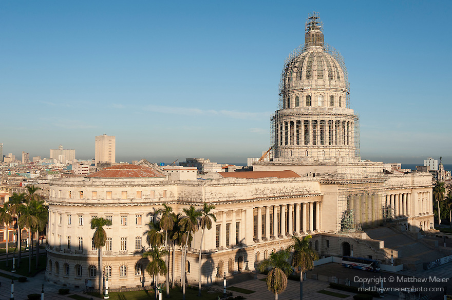 Havana, Cuba; an elevated view of the Capitol building in early morning sunlight, inaugurated in 1929, the building is loosely modeled after the US Capital