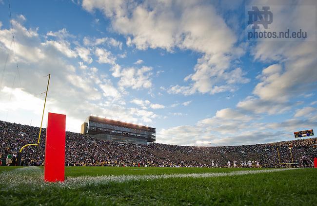 Sept. 21, 2013; The sun sets over Notre Dame Stadium.<br /> <br /> Photo by Matt Cashore