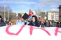 Cassino, 28 Gennaio 2011.Sciopero metalmeccanici e manifestazione in difesa del contratto nazionale e contro il modello Marchionne..Lavoratori e lavoratrici dello spettacolo