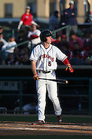 Brett Phillips (6) of the Lancaster JetHawks bats during a game against the Lake Elsinore Storm at The Hanger on May 9, 2015 in Lancaster, California. Lancaster defeated Lake Elsinore, 3-1. (Larry Goren/Four Seam Images)