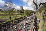 Picture by Shaun Flannery/SWpix.com - 30/04/2016 - Cycling - 2016 Tour de Yorkshire, Stage 2: Otley to Doncaster - Yorkshire, England - The peloton passes Historic Conisbrough Castle.