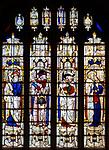 Sixteenth century stained glass windows inside church of Saint Mary, Fairford, Gloucestershire, England, UK - window 20 Zachariah, Isaiah, David, Jeremiah