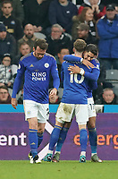 1st January 2020; St James Park, Newcastle, Tyne and Wear, England; English Premier League Football, Newcastle United versus Leicester City; Ayoze Perez of Leicester City gets a hug from James Maddison of Leicester City after he scores in the 36th minute to make it 0-1  - Strictly Editorial Use Only. No use with unauthorized audio, video, data, fixture lists, club/league logos or 'live' services. Online in-match use limited to 120 images, no video emulation. No use in betting, games or single club/league/player publications
