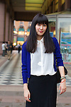 July 20, 2012 - Tokyo, Japan - Saki, 22, Artist. Today's fashion point - Blue cardigan for a rainy day in summer. Favorite brand - Anything American vintage. Clothing bought from - Top is from Zara and Necklace is from Berlin. Favorite fashion style - Simple and classy. Favorite place - Shibuya for food and entertainment and Ginza for shopping. (Photo by Christopher Jue/Nippon News)