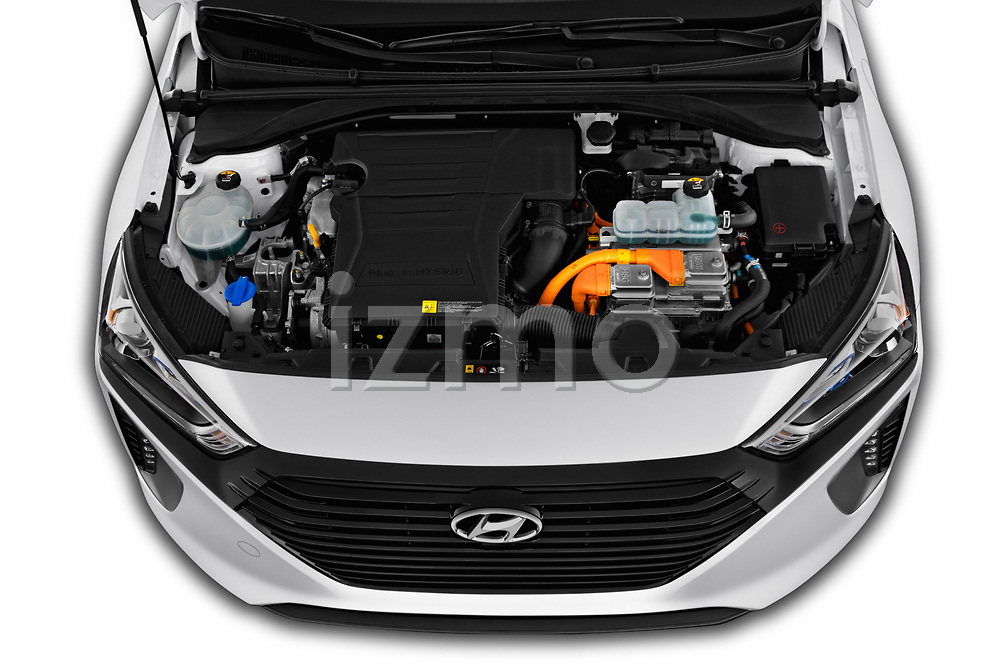 Car stock 2019 Hyundai Ioniq Plug-In Hybrid Base 5 Door Hatchback engine high angle detail view